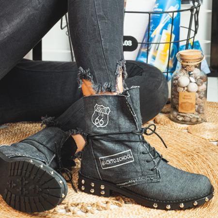 Jeansowe workery w kolorze czarnym Irini - Obuwie