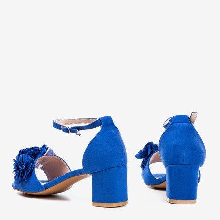 Kobaltowe sandały na wyższym słupku z kwiatkami Rewolina - Obuwie