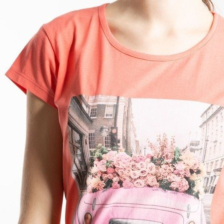Koralowa koszulka z krótkim rękawem - Bluzki