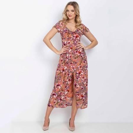 Koralowa sukienka z printem w kwiaty na ramiączka - Odzież
