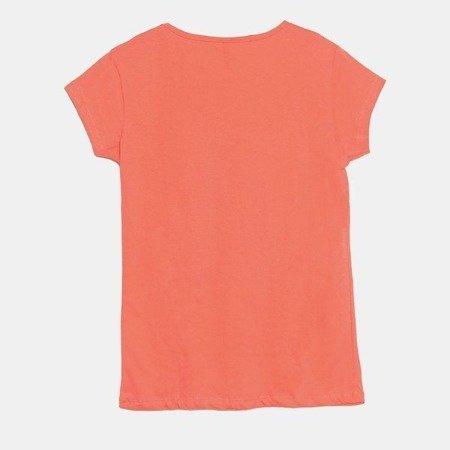 Koralowy t-shirt damski z nadrukiem - Bluzki