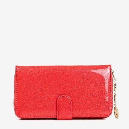 Lakierowany duży portfel damski w kolorze czerwonym - Portfel