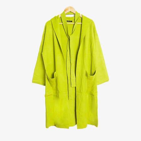 Limonkowy sweter kardigan z kapturem - Odzież