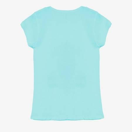 Miętowa damska koszulka z nadrukiem pieska - Odzież