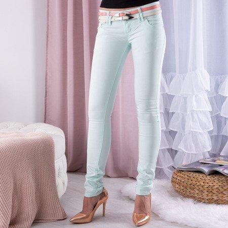 Miętowe spodnie z niskim stanem - Spodnie