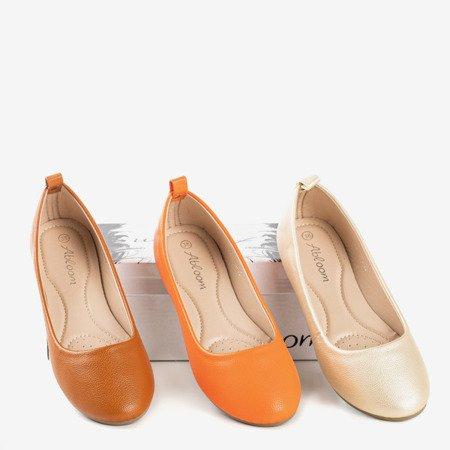 Neonowe pomarańczowe baleriny damskie eko - skóra Nastis - Obuwie