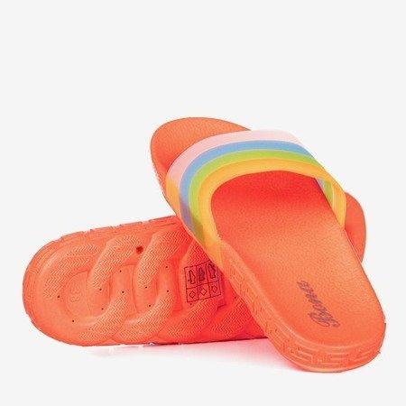 Neonowe pomarańczowe klapki damskie Florinda - Obuwie