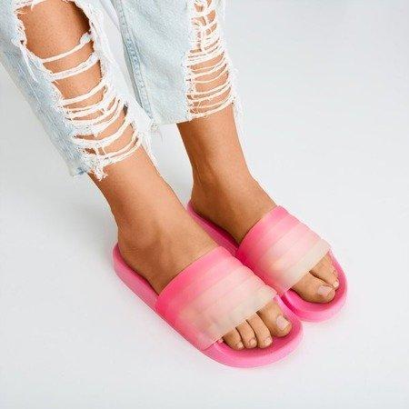 Neonowe różowe gumowe kłapki Nalina - Obuwie