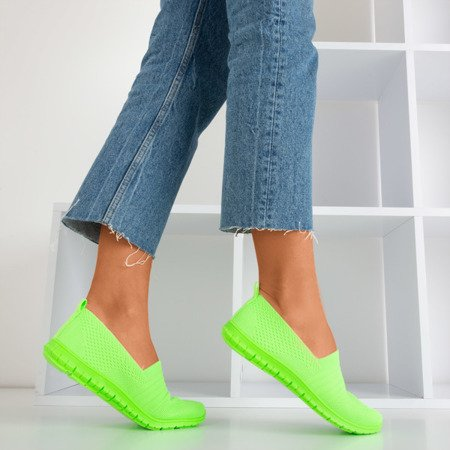 Neonowe zielone tenisówki slip-on damskie Colorful - Obuwie
