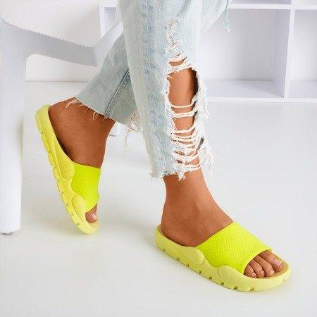 Neonowe żółte klapki z siateczką Sensie - Obuwie