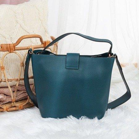 Niebieska torebka na ramię z eko - skóry - Torebki