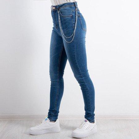 Niebieskie damskie jeasny z łańcuchem - Spodnie