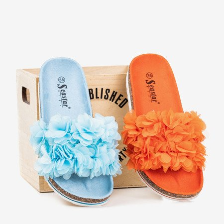 Niebieskie damskie klapki z kwiatkami Mastina - Obuwie