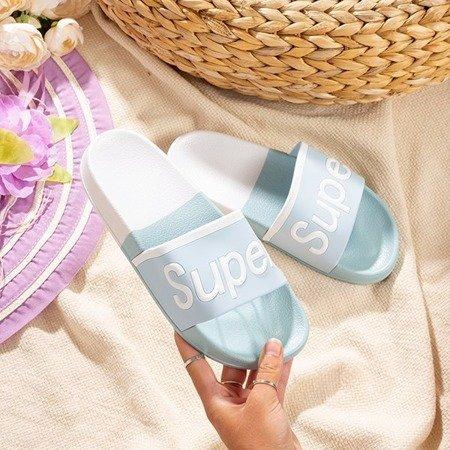 Niebieskie damskie klapki z napisem Supera - Obuwie