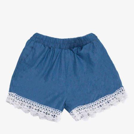 Niebieskie damskie krótkie spodenki z koronką - Odzież