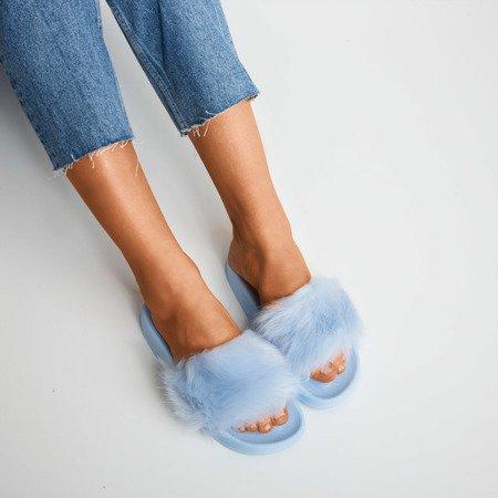 Niebieskie klapki z futerkiem Millie- Obuwie