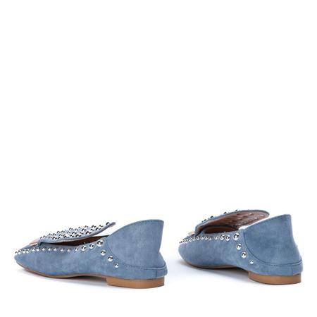 Niebieskie mokasyny z dżetami Florentyna - Obuwie