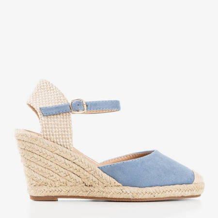 Niebieskie sandały na koturnie a'la espadryle Tidem - Obuwie