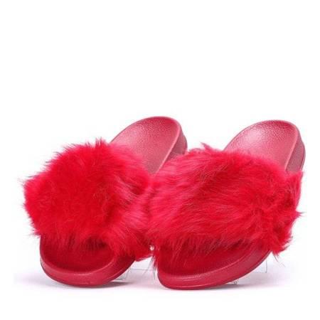 OUTLET Czerwone klapki z futerkiem Millie- Obuwie