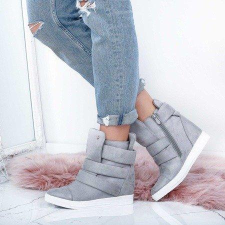 OUTLET Szare sneakersy na krytym koturnie My Little Love- Obuwie