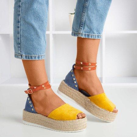 OUTLET Żółto-niebieskie sandały damskie a'la espadryle Irimida- Obuwie