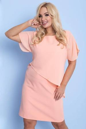 Pomarańczowa sukienka przed kolano PLUS SIZE - Odzież