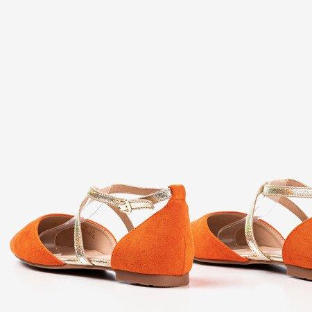 Pomarańczowe baleriny damskie na płaskim obcasie Vosia - Obuwie