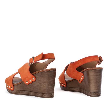 Pomarańczowe sandały na wysokiej koturnie Vaia - Obuwie