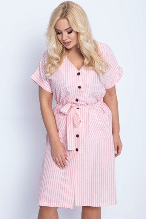 Różowa sukienka w paski PLUS SIZE - Odzież