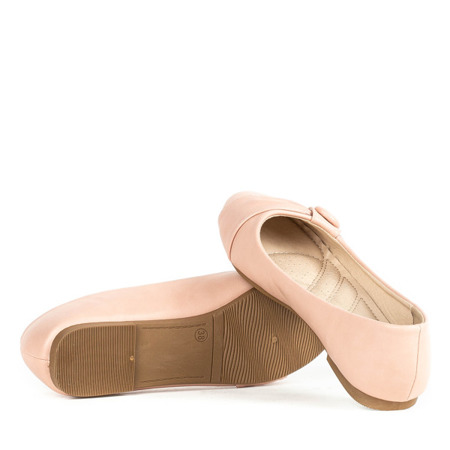 Różowe baleriny z ozdobą Aero - Obuwie