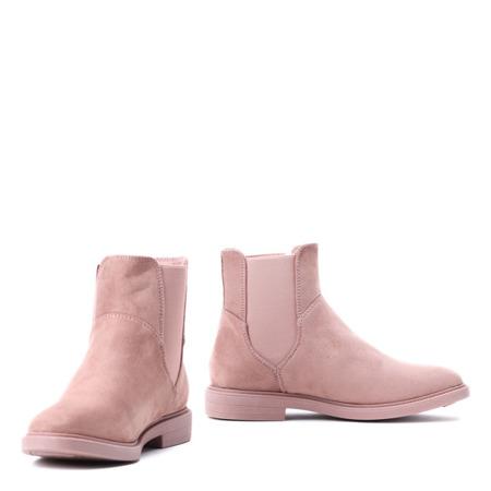 Różowe botki z elastyczną cholewką - Obuwie