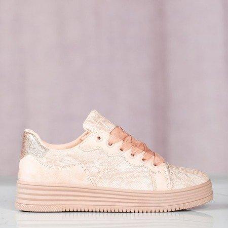 Różowe buty sportowe z wiązaniem Dylla - Obuwie