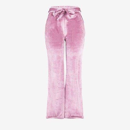 Różowe damskie spodnie proste - Spodnie