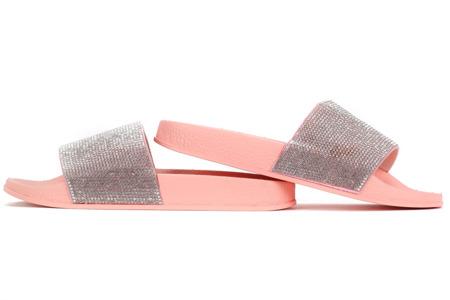 Różowe klapki z cyrkoniami Renn - Obuwie