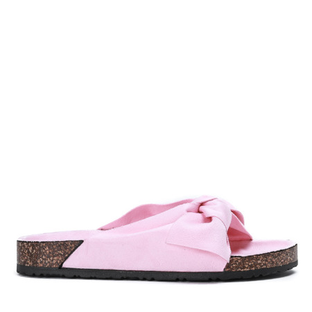 Różowe klapki z kokardką Nivie - Obuwie