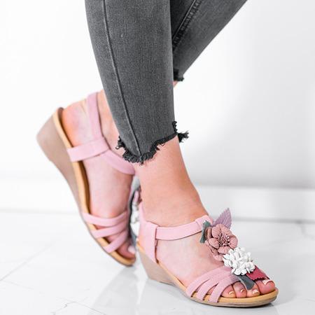 Różowe sandały na koturnie z ozdobnymi kwiatkami Dormina - Obuwie