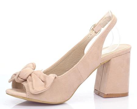 Różowe sandały na niskim obcasie Celeste - Obuwie