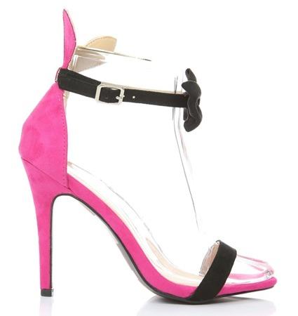 Różowe sandały z czarną kokardą Rokarde- Obuwie