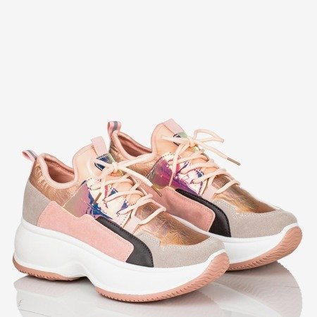 Różowe sneakersy damskie z holograficznymi wstawkami  Ginna - Obuwie
