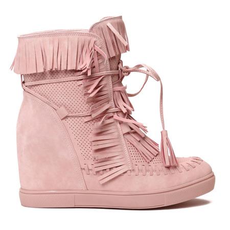 Różowe sneakersy na krytym koturnie Emerson - Obuwie