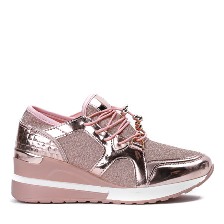 Różowe sportowe buty na koturnie z ozdobnym brokatem Antonea - Obuwie