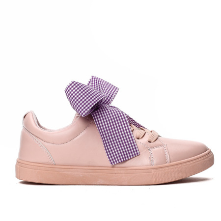 Różowe, sportowe buty z kokardą Alice - Obuwie