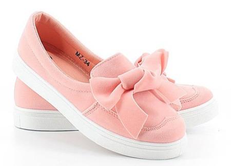 Różowe sportowe buty z kokardką Obuwie