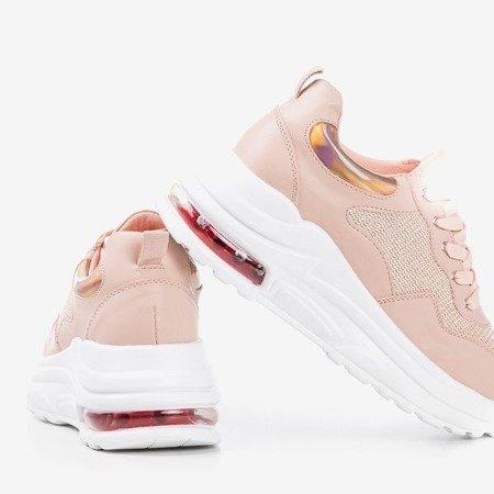 Różowe sportowe sneakersy damskie z holograficznymi wstawkami Piulesa - Obuwie