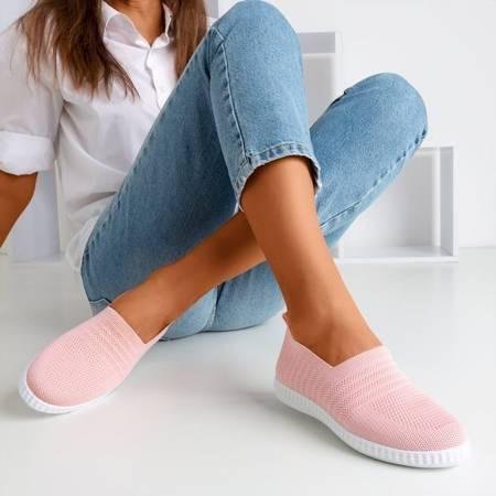 Różowe tenisówki slip-on damskie Rutare - Obuwie