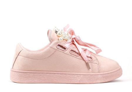 Różowe tenisówki z cyrkoniami - Obuwie