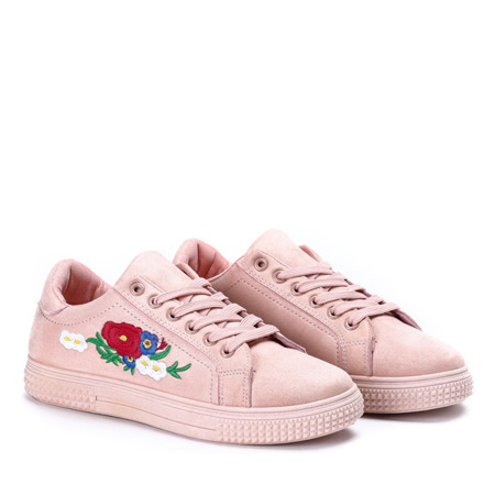 Różowe tenisówki z haftem Allison - Obuwie