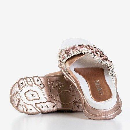 Różowo-złote damskie klapki z cekinami Kobi - Obuwie