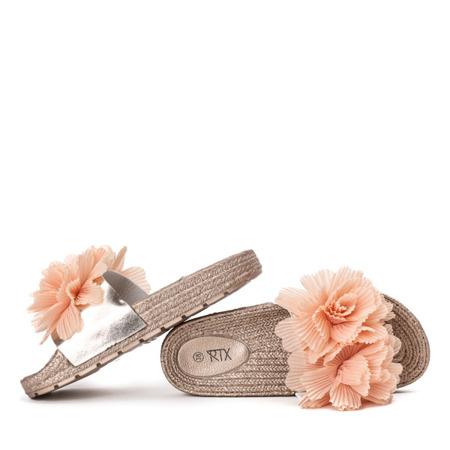 Różowo - złote klapki z ozdobnymi kwiatuszkami Ratena - Obuwie