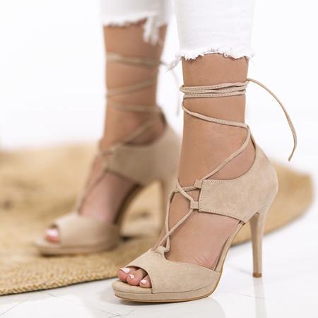 Sandałki wiązane na szpilce z wycięciami w kolorze beżowym Jafet - Obuwie